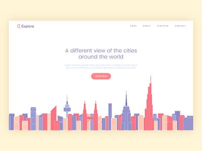 Explore Illustration web design landing page cities buildings illustration website ui