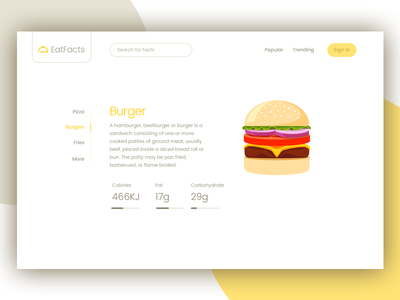 Eat Facts ui modern clean burger facts nutrition website