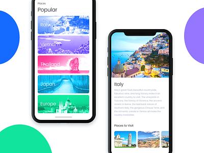 Tourism App guide travel modern clean iphone x ui app tourism