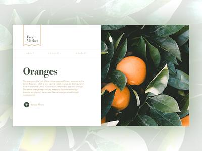 Fresh Market organic fresh oranges ux ui website landing page