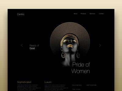 Centric modern clean gold black design ux ui website