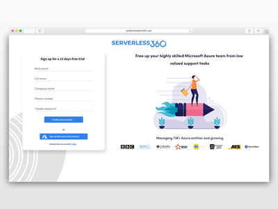 Signup Screen for Serverless360 clean ui login form login create account onboarding screen onboarding ui onboarding signup form signup ux ui illustration blue vector clean 2d minimal flat design adobe