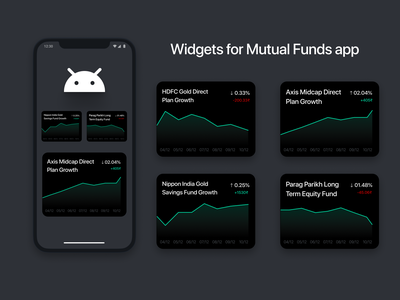mutual funds app widgets chart dashboad light dark ux ui clean 2d design minimal flat fintech finance widget ios android app