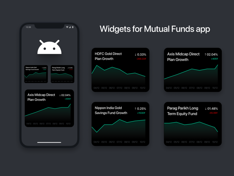 mutual funds app widgets chart dashboad light dark ux ui clean 2d design minimal flat fintech finance widget ios android app