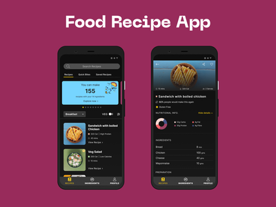 Food Recipe App redesign freebie free dribbble creative branding ios android figma dark food mobile design app ux ui clean 2d flat minimal