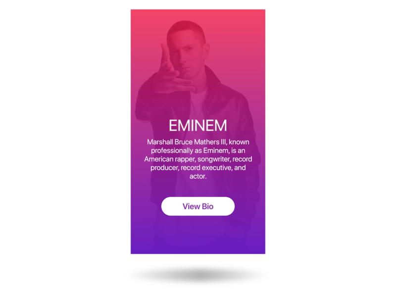 Eminem - Profile 2d profile design profile image profile card profile card xddailychallenge xd adobe typography type ux ui app android minimal logo lettering flat design
