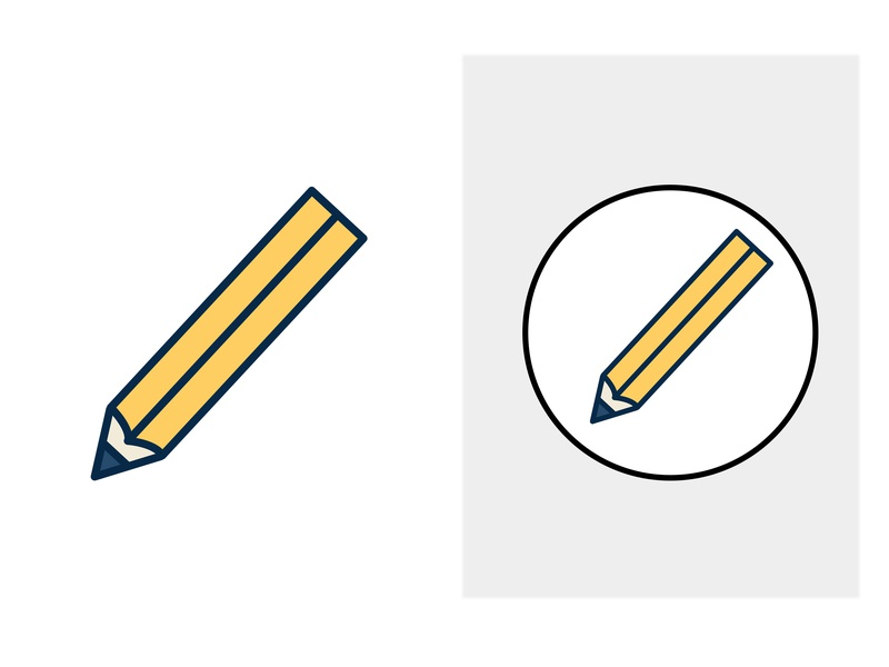 Pencil ✏️ vector yellow pencil icon android drawing clean blue art photoshop logo illustration 2d adobe minimal flat design