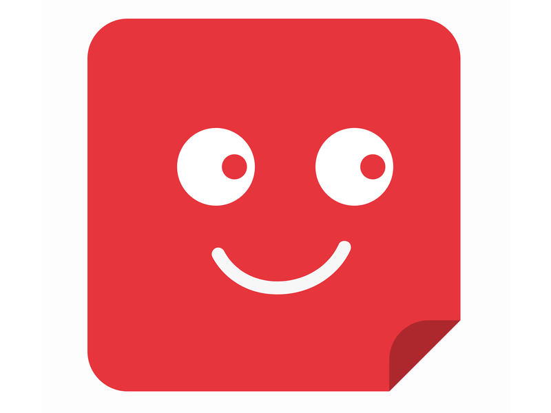 Sticky smile icon logo branding red sticky note vector drawing clean art photoshop illustration 2d adobe minimal flat design