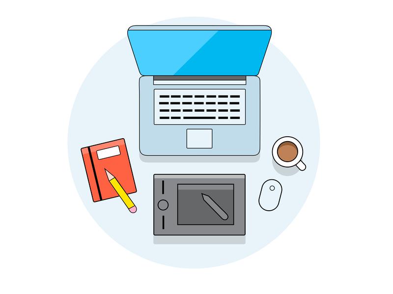 Work desk wacom illustrator coffee laptop work desk work icon character branding blue vector art drawing clean illustration 2d adobe minimal flat design