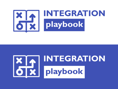 Integration Playbook Logo integration microsoft playbook typography design adobe branding blue vector clean 2d minimal flat logo