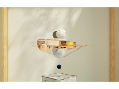 DEVIALET GOLD PHANTOM c4d octane 3d music gold soft marble modern motion design design branding