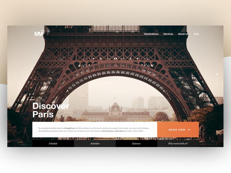 Discover París - Travel agency landing concept website parís eiffeltower travelagency travel