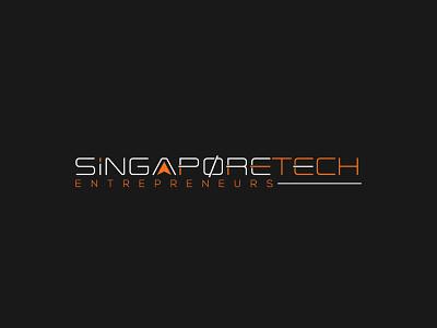 Singapore Tech Entrepreneurs black background orange color innovative simple logo trendy logo type design typedesign typeface type art modernism typography adobe illustrator wordmark tech logo singapore vector branding logo graphic design creative