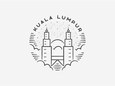Kuala Lumpur hand drawn black and white kuala lumpur simple building texture badge cloud landmark city asia malaysia