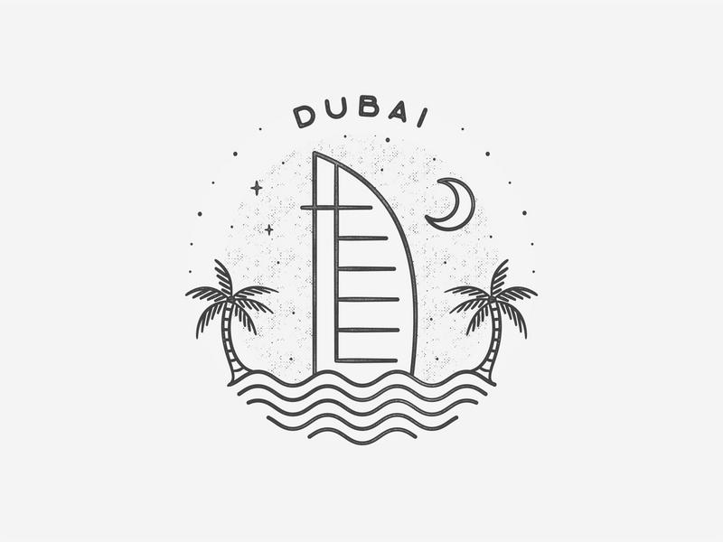 Dubai black and white middle east simple building texture travel badge beach landmark city dubai