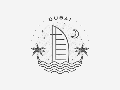 Dubai black and white middle east simple building texture travel badge beach landmark city dubai