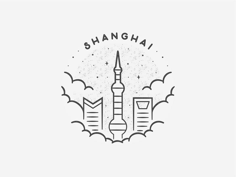 Shanghai black and white simple building texture travel badge beach landmark city asia china shanghai