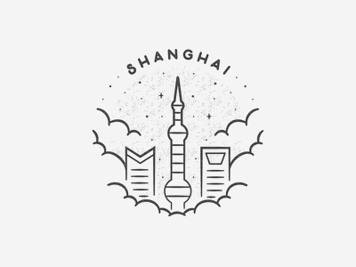 Shanghai black and white simple building texture travel badge beach landmark city asia china shanghai