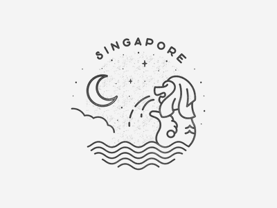 Singapore black and white simple building texture travel badge logo landmark city asia singapore