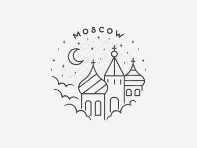 Moscow hand drawn black and white simple building texture badge cloud landmark city travel russia moscow