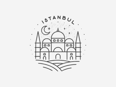 Instanbul hand drawn black and white travel simple minimal texture badge icon landmark city turkey istanbul