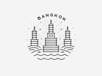 Bangkok hand drawn black and white simple travel texture badge icon landmark city asia thailand bangkok