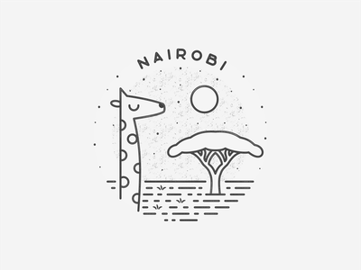 Nairobi safari nairobi giraffe africa simple black  white city logo badge travel