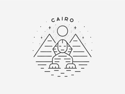 Cairo africa icon travel desert pyramid city circle badge sphynx black  white line art landmark simple egypt cairo