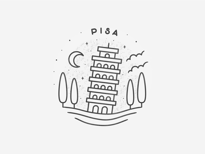 Pisa minimal travel simple line art landmark icon city circle black  white badge europe italy pisa