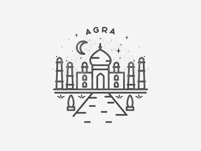 Agra taj mahal agra india illustration minimal icon asia travel hand drawn texture landmark black and white city badge simple
