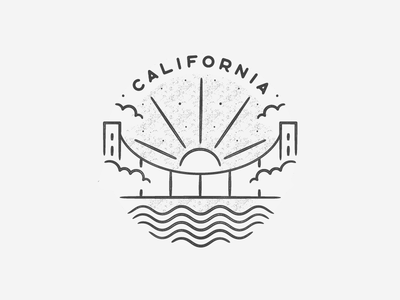 California circle logo illustration minimal icon travel hand drawn texture landmark black and white city badge simple waves ocean golden gate san francisco california cali