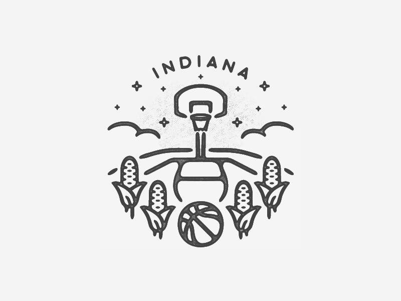Indiana logo illustration minimal icon travel hand drawn texture black and white city badge simple landmark midwest corn basketball hoosier indiana