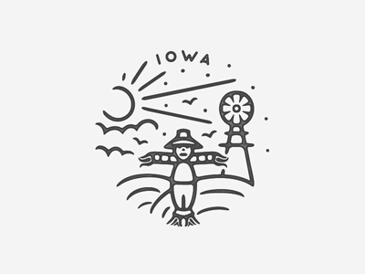 Iowa black  white logo illustration minimal icon travel hand drawn texture landmark black and white city badge simple country november fall birds farm scarecrow iowa