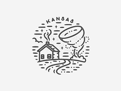 Kansas texture logo icon travel landmark world city badge simple farm storm weather cabin house wizardofoz tornado kansas