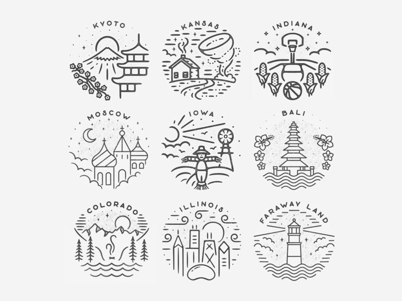 Best of 2018 circle minimal logo illustration badge design travel texture 2018 top 9 best 9 city landmark badge simple