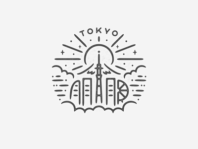 Tokyo building logo icon travel texture landmark city simple asia mountain mt fuji black white badge japan