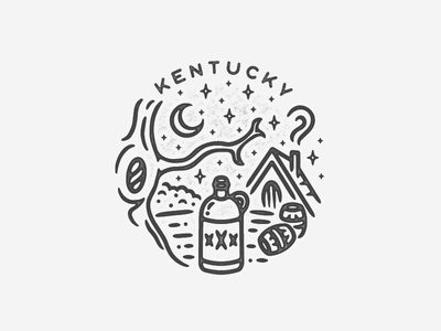 Kentucky nature liquor bourbon beer alchohol moonshine kentucky line art illustration logo minimal icon hand drawn black and white travel texture landmark city badge simple