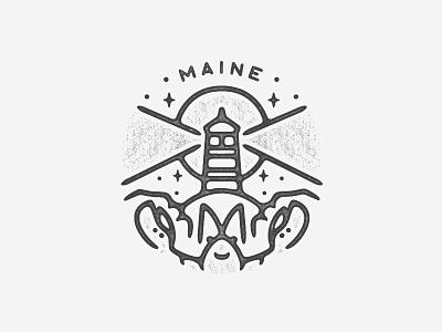 Maine tattoo nature national park america northeast logo minimal illustration travel texture landmark city badge simple stars moon beach lighthouse lobster maine