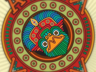 Quetzal concert festival wild mayan aztec vector design illustration bird quetzal
