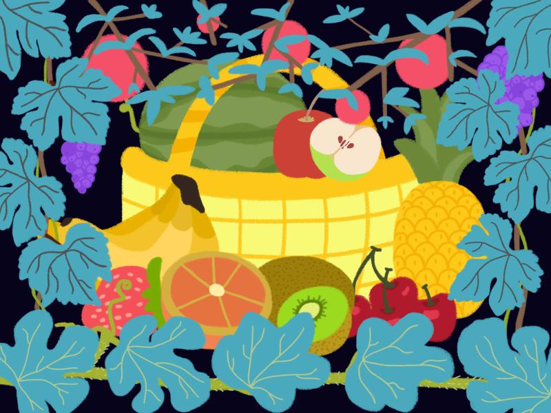 Fruits Basket ui typography design animation illustration