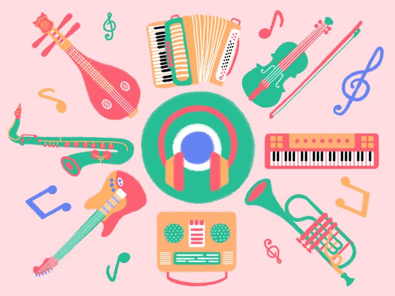 Musical Instruments logo ui icon typography design illustration