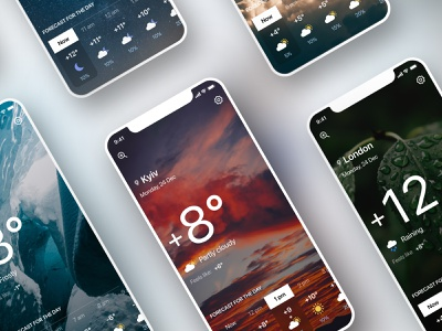 Weather app weather icon ios clean mobile app design weather forecast dark mode dark theme sun rain design concept ui ux app weather weather app