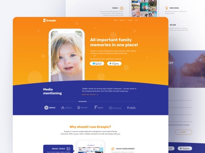 Graspic portfolio identity branding app design blue orange uxui ui ux mobile ui landing page design webdesign web