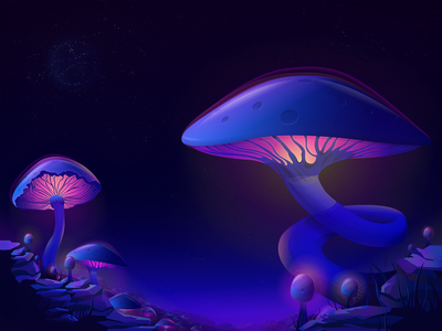 Mushroom Planet mushrooms flat vector illustration hello hello dribbble first shot design