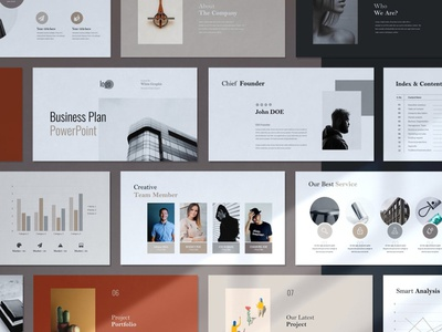 Minimal Business Plan PowerPoint multipurpose professional elegant creative presentation clean modern minimalism minimalist simple agency concept web development web design website template powerpoint plan minimal business