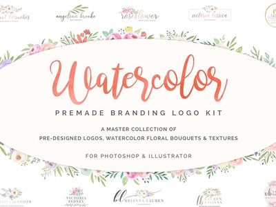 FLASH SALE! Watercolor Premade Logos