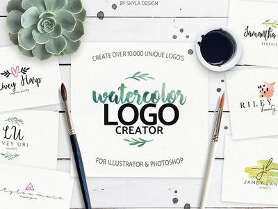 Premade watercolor logo creator kit