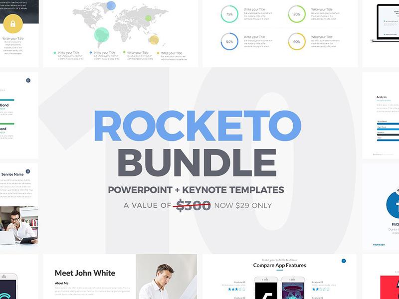 Rocketo Powerpoint Keynote Bundle By Templates Dribbble Dribbble