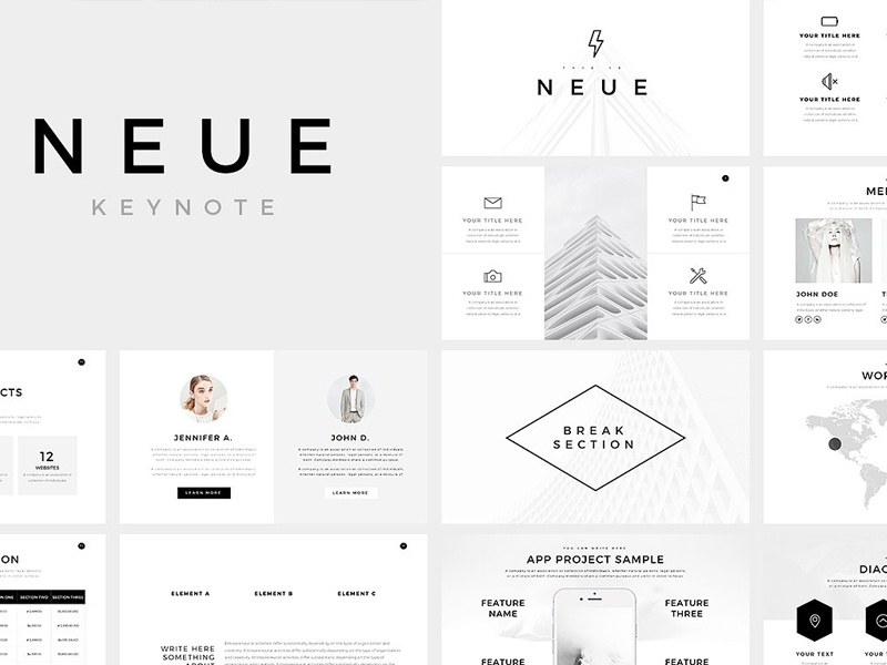 Keynote Template | Neue Minimal Keynote Template By Templates Dribbble