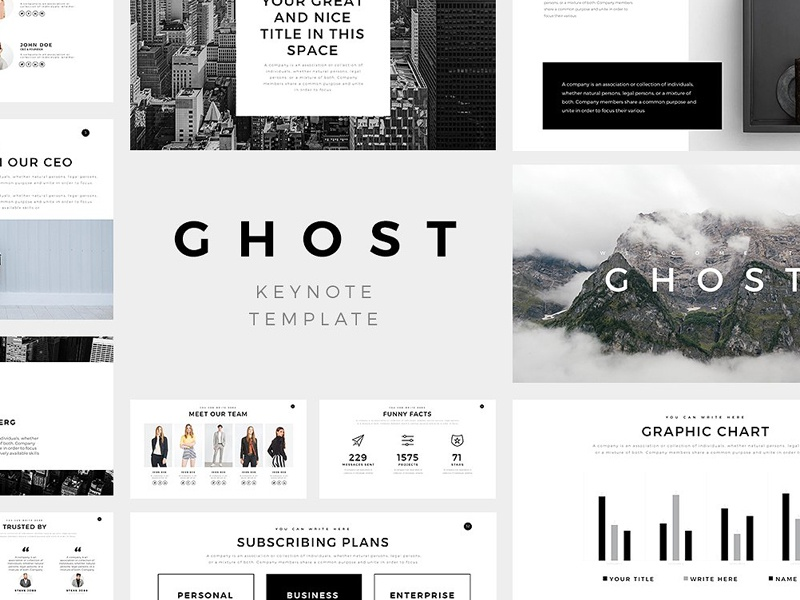 ghost minimal keynote template by templates dribbble dribbble
